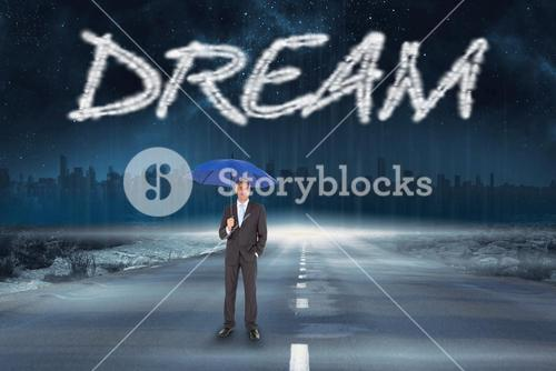 Dream against road leading out to the horizon