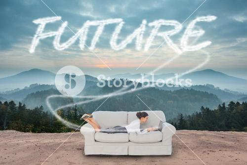 Future against scenic countryside with mountains