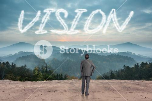 Vision against scenic countryside with mountains