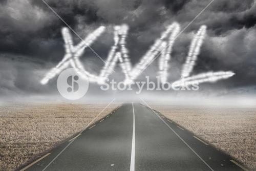 Xml against misty brown landscape with street