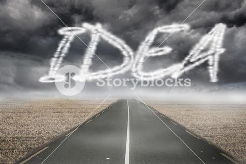 Idea against misty brown landscape with street