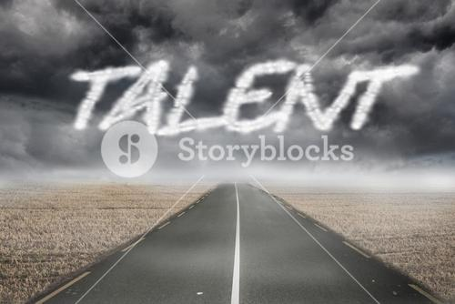 Talent against misty brown landscape with street