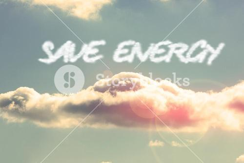 Save energy against bright blue sky with cloud