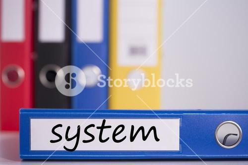 System on blue business binder