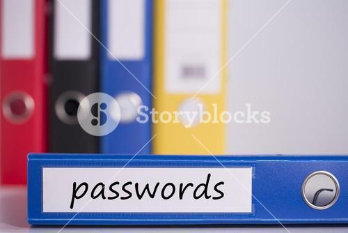 Passwords on blue business binder