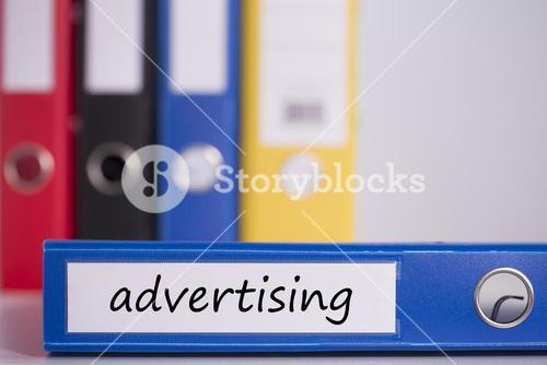 Advertising on blue business binder