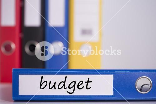 Budget on blue business binder