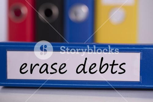 Erase debts on blue business binder