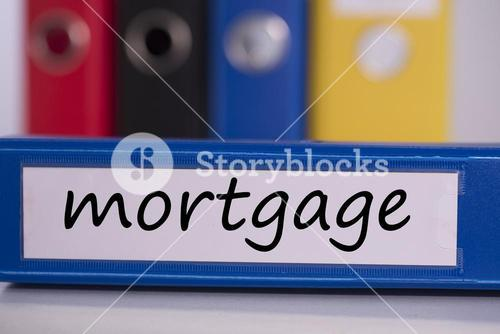 Mortgage on blue business binder