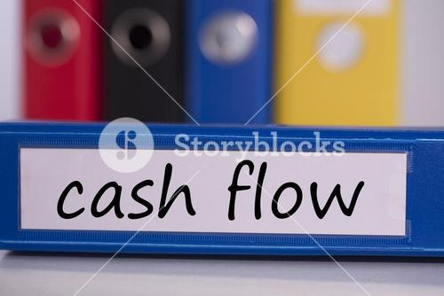 Cash flow on blue business binder