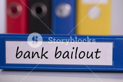 Bank bailout on blue business binder