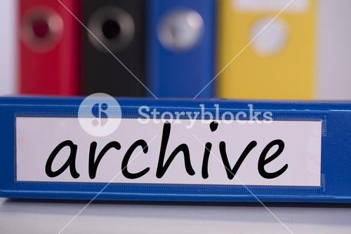 Archive on blue business binder