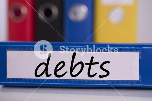 Debts on blue business binder