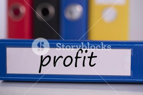 Profit on blue business binder