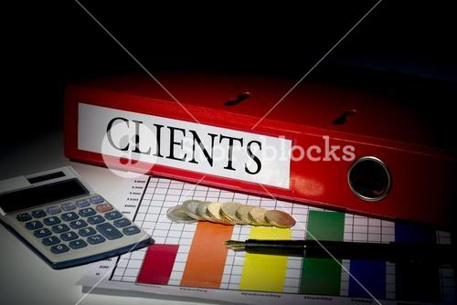 Clients on red business binder