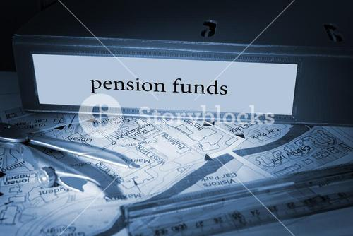 Pension funds on blue business binder