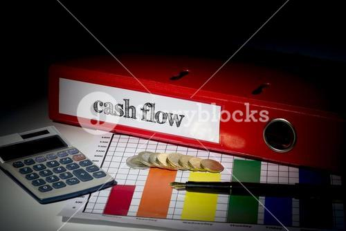 Cash flow on red business binder