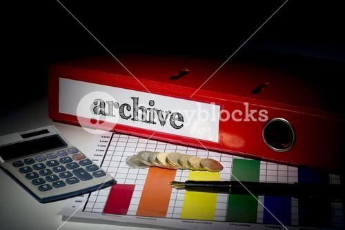 Archive on red business binder