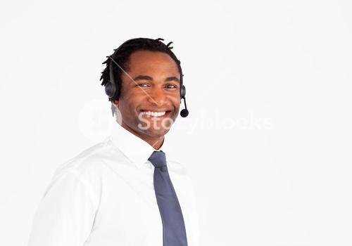 Handsome with headset