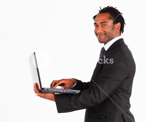 Portrait of with laptop