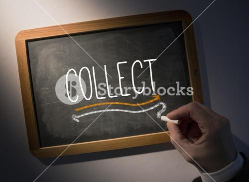 Hand writing Collect on chalkboard