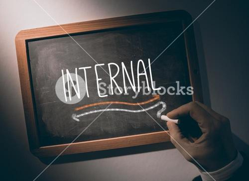Hand writing Internal on chalkboard