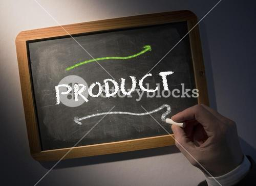 Hand writing Product on chalkboard