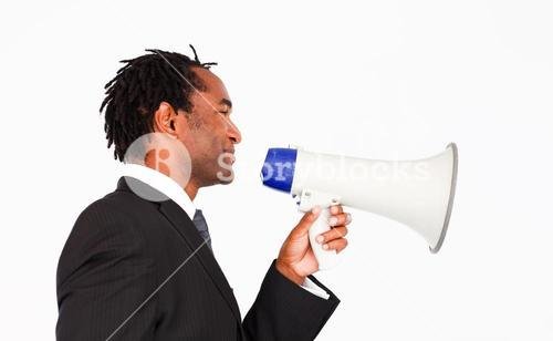Business announcement through megaphone