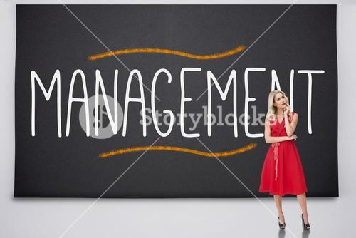 Pretty blonde thinking against the word management