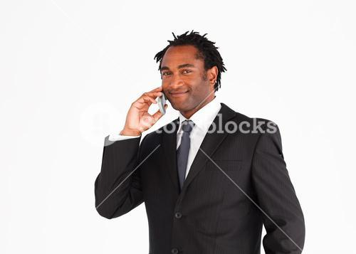 Handsome businessman manager talking on the phone