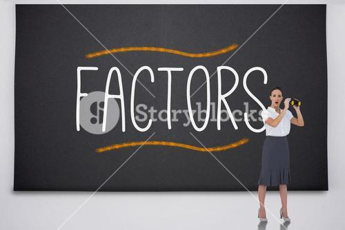 Shocked businesswoman with binoculars against the word factors