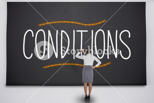 Businesswoman considering the word conditions