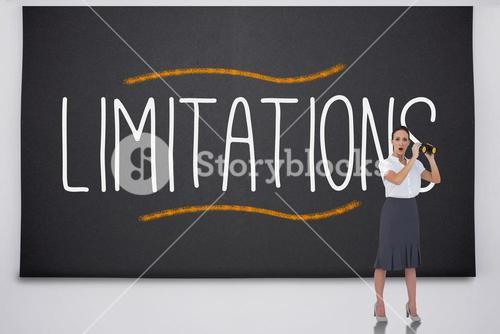 Shocked businesswoman with binoculars against the word limitations