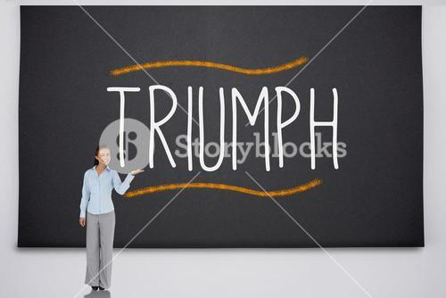 Businesswoman presenting the word triumph