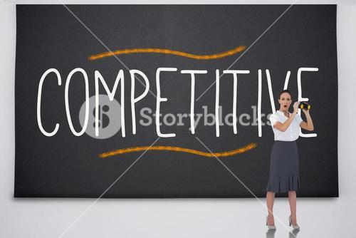 Shocked businesswoman with binoculars against the word competitive