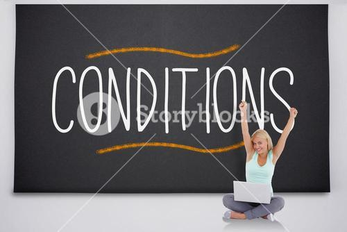 Cheering blonde with laptop against the word conditions