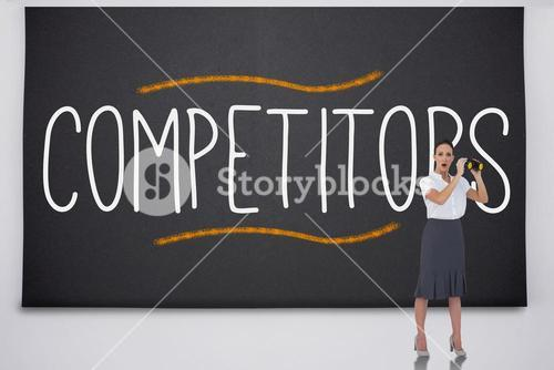 Shocked businesswoman with binoculars against the word competitors