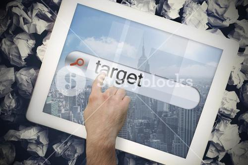 Hand touching target on search bar on tablet screen