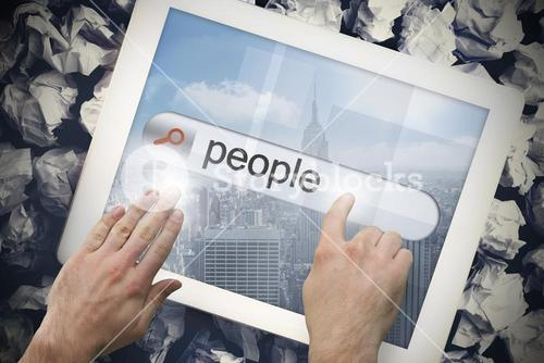 Hand touching people on search bar on tablet screen