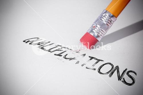 Pencil erasing the word Qualifications