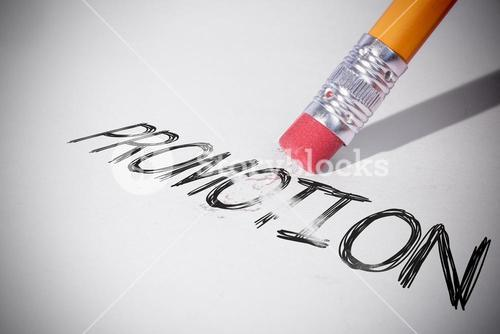 Pencil erasing the word Promotion