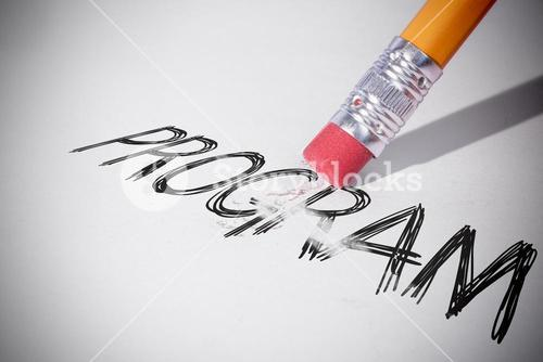 Pencil erasing the word Program