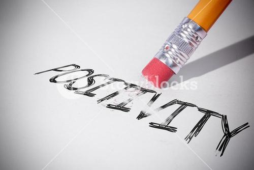 Pencil erasing the word Positivity
