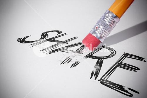 Pencil erasing the word Share