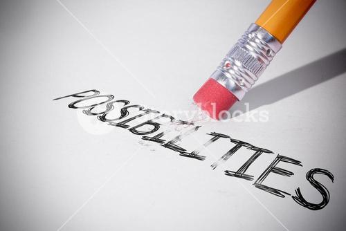 Pencil erasing the word Possibilities