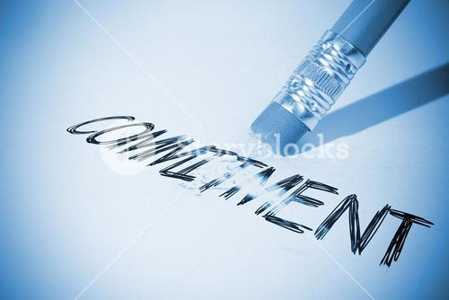 Pencil erasing the word Commitment