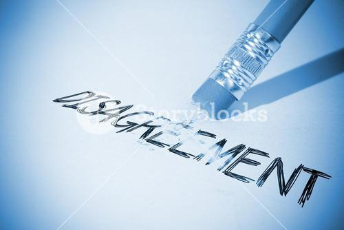 Pencil erasing the word Disagreement