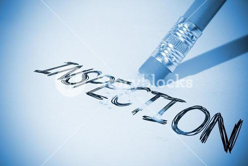 Pencil erasing the word Inspection