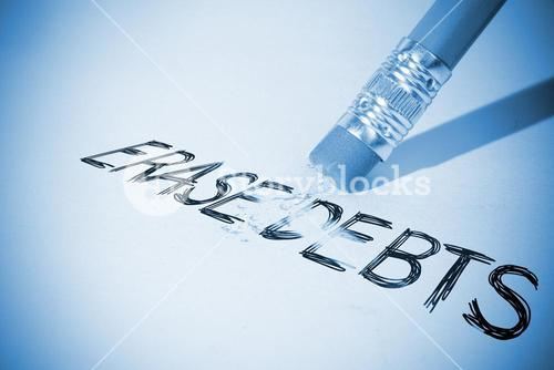 Pencil erasing the word Erase debts