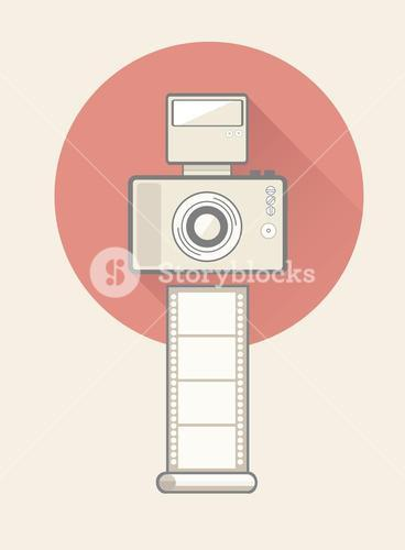 Digital camera with flash and film
